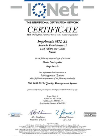 Certificat Quality Management System