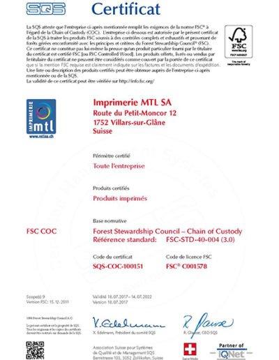 Certificat FSC COC