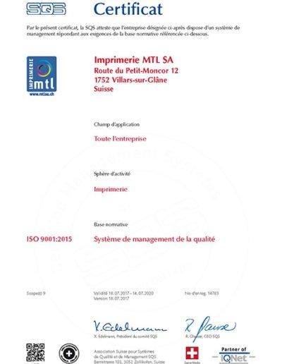 Certificat ISO 9001:2015