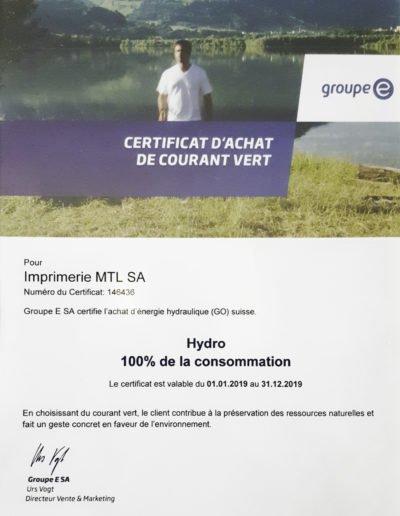 Certificat d'achat de courant vert